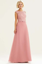 Lace Scoop Neck Cap Sleeve Chiffon Bridesmaid Dress With Beading