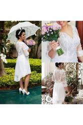 A Line V-neck Lace Zipper Wedding Dress