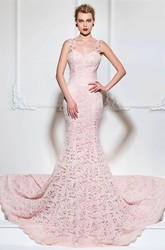 Mermaid Lace Floral Appliqued Gown With Straps And Open Back