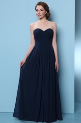 A-Line Sweetheart Floor-Length Sleeveless Ruched Chiffon Bridesmaid Dress