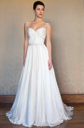 A-Line Sleeveless V-Neck Appliqued Long Stretched Satin Wedding Dress With Pleats