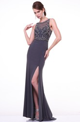 Sheath Bateau Sleeveless Jersey Illusion Dress With Split Front And Beading