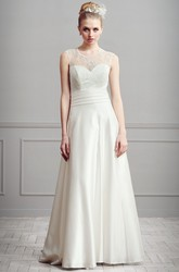 A-Line Lace Maxi Sleeveless Scoop-Neck Satin Wedding Dress