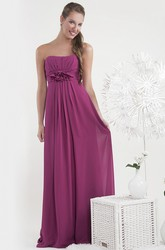 Sheath Ruched Sleeveless Strapless Maxi Empire Chiffon Bridesmaid Dress With Flower