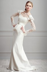 Sheath Appliqued Cap-Sleeve Long Square-Neck Satin Wedding Dress With Peplum And Broach