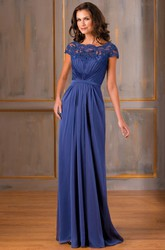 Cap-Sleeved A-Line Long Gown With Lace Appliques And V-Back