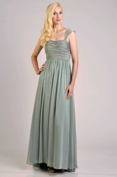 Cap Sleeve Chiffon A-Line Bridesmaid Dress With Pleats