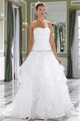 A-Line Sleeveless Strapless Long Cascading-Ruffle Organza Wedding Dress With Waist Jewellery And Ruching