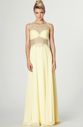 Maxi Sleeveless Beaded Scoop Neck Chiffon Prom Dress