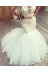 Mermaid Trumpet Sweetheart Tulle Zipper Wedding Gown