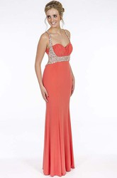 Sheath Beaded Sleeveless Floor-Length Jersey Prom Dress With Straps And Ruching