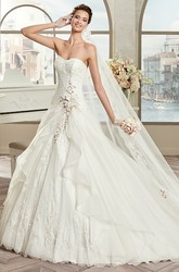Strapless A-Line Bridal Gown With Floral Decorations And Ruffles