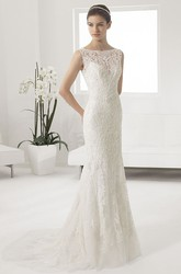 Illusion Bateau Neck Mermaid Bridal Gown With Allover Lace