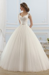 Ball Gown Long V-Neck Short-Sleeve Backless Tulle Dress With Beading