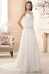 A-Line Sleeveless Long High-Neck Lace Tulle Wedding Dress
