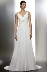 V-Neck Long Ruched Chiffon Wedding Dress With Sweep Train And V Back