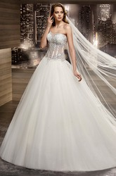 Sweetheart A-Line Bridal Gown With Beaded Embellishment And Brush Train