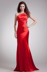 Sheath Satin One-Shoulder Evening Dress with Ruched Bodice