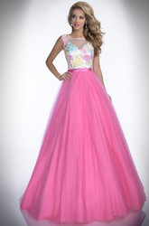Embroidered Bodice A-Line Tulle Prom Dress With Bateau Neck