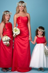 Sheath One-Shoulder Ruched Sleeveless Satin Bridesmaid Dress