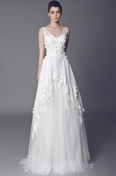 V-Neck Floor-Length Draped Appliqued Tulle Wedding Dress With Court Train And V Back