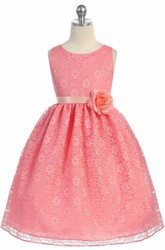 Tea-Length Floral Tiered Lace Flower Girl Dress