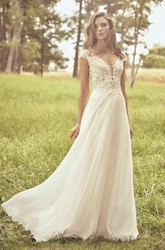 Appliqued Lace Chiffon Cap Sleeve Illusion Plunging Neckline And Illusion Back Wedding Dress