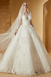 Vintage Long-Sleeve Ball Gown With Fine Appliques And Illusive Jewel Neck
