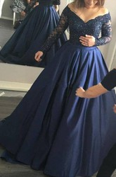 Illusion Long Sleeve Court Train A-Line Ball Gown Off-the-shoulder Satin Lace Dress