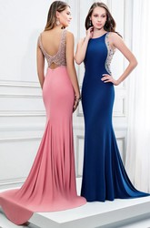 Floor-Length Sheath Sleeveless Scoop Neck Beaded Jersey Prom Dress