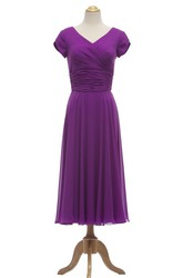 Petal Sleeve V-neck Tea-length Dress With Ruched Waist
