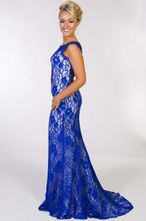 Sheath Scoop Sleeveless Maxi Appliqued Lace Prom Dress With Illusion Back And Pleats