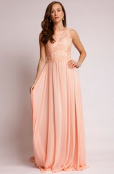 A-Line Appliqued Sleeveless Maxi Bateau Chiffon Prom Dress With Keyhole Back And Pleats
