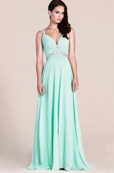 Exquisite Sleeveless Ruched Bodice Chiffon Skirt With Beaded Straps and Waistline