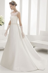 Illusion Jewel Neck Satin Wedding Gown With Crystal Bodice
