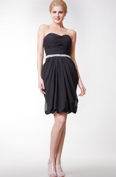 Cute Strapless Beaded Chiffon Short Dress With Puff Style