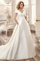 V-Neck Court-Train Satin Long Wedding Dress With Low-V Back And Floral Waistband
