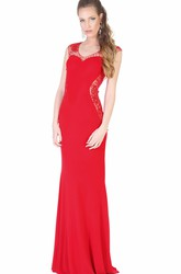 Sheath Cap-Sleeve Scoop-Neck Floor-Length Beaded Jersey Evening Dress