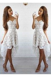A-line High-low Sleeveless Spaghetti Ruffles Lace Homecoming Dress