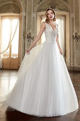 A-Line V-Neck Floor-Length Appliqued Sleeveless Lace&Tulle&Satin Wedding Dress