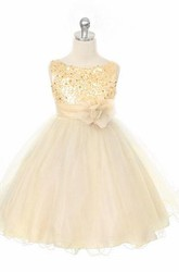 Tea-Length Floral Floral Sequins&Satin Flower Girl Dress With Sash