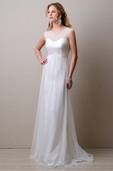 Jewel Neck Illusion Top Sleeveless Tulle Gown Featuring Keyhole Back