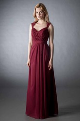 Cap Sleeve V-Neck Criss-Cross Chiffon Bridesmaid Dress With Bow And Keyhole