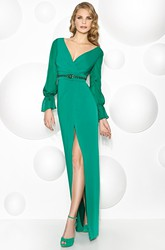 V-Neck Balloon Sleeve Jeweled Jersey Prom Dress