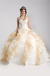 Sleeveless Keyhole Ball Gown With Cascading Ruffles And Lace-Up Back