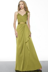 Draped Spaghetti Sleeveless Chiffon Bridesmaid Dress