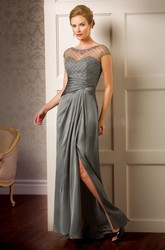 Cap-Sleeved Front Silted Mother Of The Bride Dress With Keyhole Back