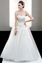 A-Line Strapless Lace Tulle Wedding Dress With Flower And Beading