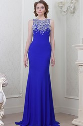 Sheath Beaded Scoop-Neck Sleeveless Floor-Length Jersey Evening Dress
