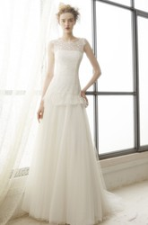 A-Line Peplum Maxi Sleeveless Bateau Tulle Wedding Dress With Illusion Back And Lace